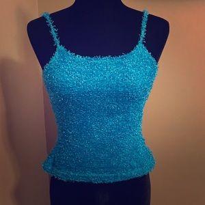 Formula X juniors size Small blue knit crop top